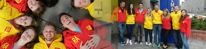 Members of the RGU: ResLife team in red and yellow uniform hoodies