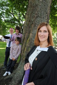 Andrea Lawrie with husband Thane and sons Tom and Hugh.