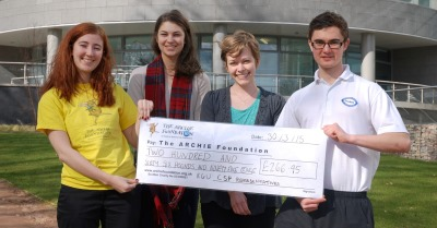 Physiotherapy students raise money for ARCHIE: From left, Emma Slesser, Hannah Walton, Emily Richart and Tom McKeever