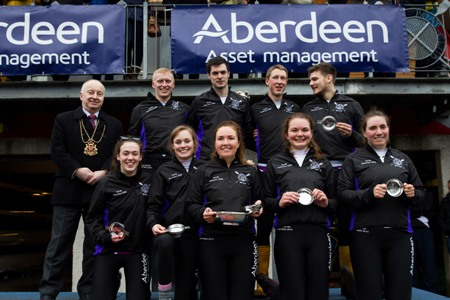 Robert Gordon University beat the University of Aberdeen at the 21st Aberdeen Asset Management Universities' Boat Race. Team pictured with Aberdeen Lord Provost George Adam.