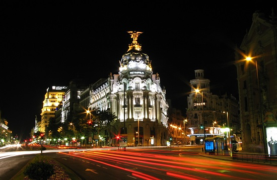 Calle de Alcala by Night, Madrid