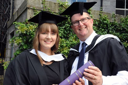 Chloe Jackson, BA (Hons) International Hospitality Managment with dad Billy, PG Cert Learning, Teaching and Assessment (Nursing and Midwifery)
