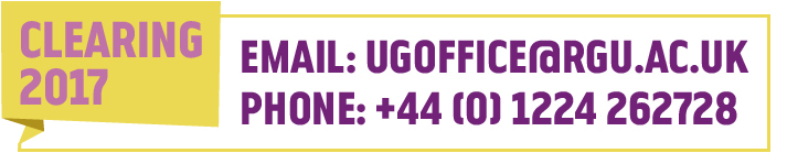 Contact the UG office for Clearing 2017 email ugoffice@rgu.ac.uk or phone +44 (0) 1224 262728