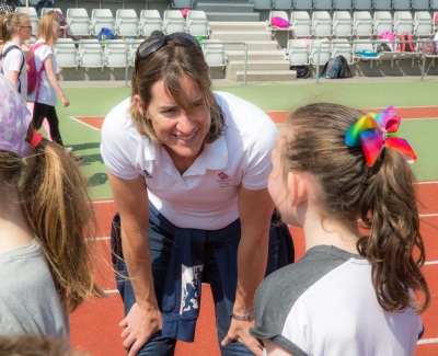 Dame Katherine Grainger with pupils