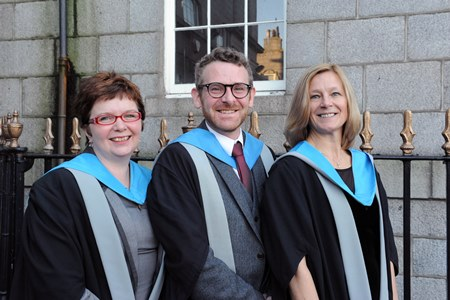 L to R – Dr Ruth Edwards and Dr Brian Addison from RGU's School of Pharmacy and Life Sciences and Dr Heather Bain from RGU's School of Nursing and Midwifery.