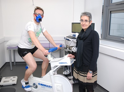 PhD research student Dean Leighton is put through his paces as lead researcher Dr Giovanna Bermano looks on.