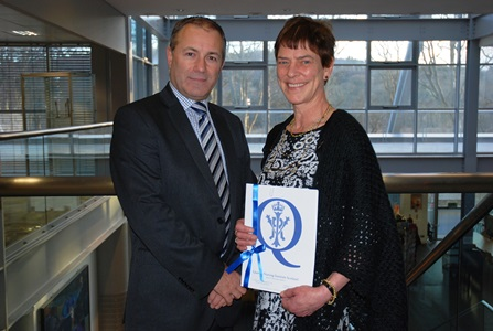 Professor Ian Murray, Head of Robert Gordon University's School of Nursing and Midwifery presented Felicity Flemming with her award.