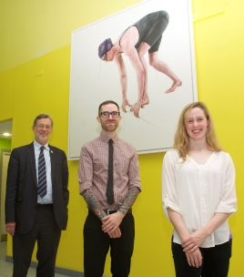L to R: Principal of RGU, Professor Ferdinand von Prondzynski, Artist Stuart Allan and Hannah Miley.