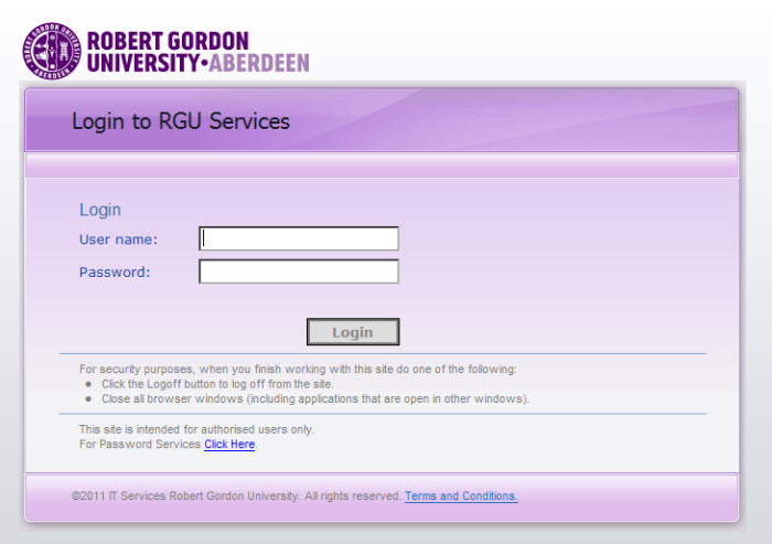 Login screen for UAG