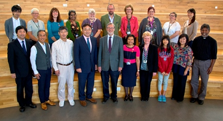 The RGU Principal, Professor Ferdinand von Prondzynski (front row centre), and colleagues welcomed the delegation from Nagoya University to The Sir Ian Wood Building.