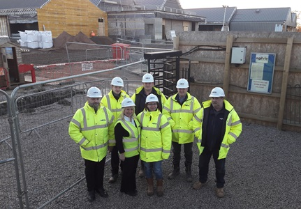 back row from left: Drew Grant - Project Manager, Scott Gardner – Trainee Quantity Surveyor, Alan Shaw - Site Foreman, Bernie McLaughlan - Site Manager, Donald MacKay - Site Manager Front row from left: Dawn Ewing - Site Administrator, Patrycja Linka - Trainee Site Manager.