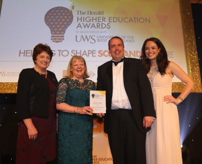 (L to R) Dr Janet Brown (Chief Executive, SQA), RGU's Yvonne Cook and James Dunphy, Jennifer Reoch (STV)