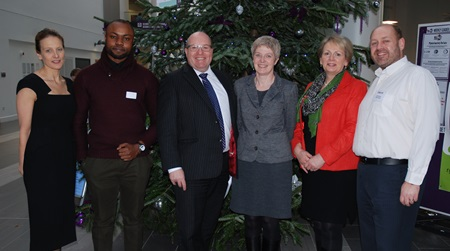 L to R - Claire Shaw, Head of Alumni Relations at RGU, Francis Enakele, MBA Oil & Gas Management student, Bob Keiller, CEO Wood Group & RGU Honorary Graduate, Shona Cormack, Vice Principal of RGU, Christine Buchanan, Dean of Students, and Will Ritchie, Careers Consultant Team Leader.
