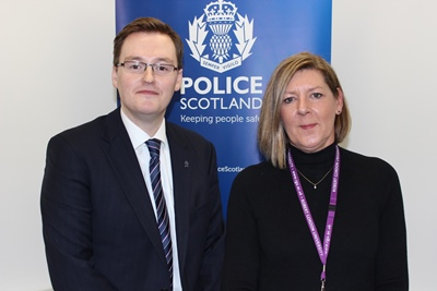 Robbie Ross from Police Scotland's Organised Crime and Counter Terrorism Unit and Professor Cherry Wainwright, Director of RGU's Institute for Health & Wellbeing Research.