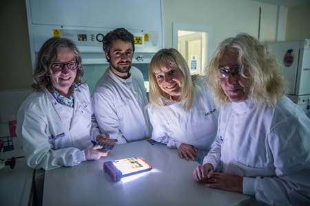 L to R - RGU Professor Linda Lawton, Knowledge Transfer Partnership Associate Josh Burns, NCIMB curator Dr Samantha Law and Dr Christine Edwards. Photography | Martin Parker, The Gatehouse, RGU.