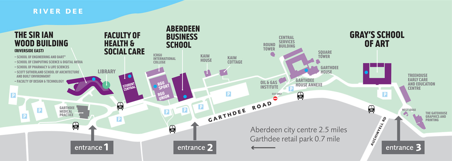 RGU Garthdee Campus Map 2016 (Opens in a new window)