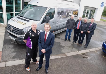 L to R: Streetsport Development Officer Mark Williams, John Clark Motor Group Operations Director Chris Clark, Gray's School of Art Lecturer John Welsh, Denis Law Trust Trustee David Suttie, Director of RGU Sport Filippo Antoniazzi and Rob McWilliam from John Clark Motor Group.