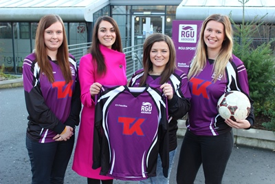 L to R - Vicki Houston, Gemma Gove from Teekay, Cheryl Hogg (RGU Ladies football captain and president) and Abbie Carnegie.