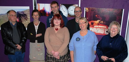 RGU lecturers Neil Gibson and Fiona Feilberg with some of the photographers who displayed their work at the exhibition.