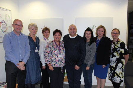 L to R: Neil Johnson (Head of Undergraduate Studies, School of Nursing and Midwifery), Katrina Whittingham (Lecturer, RGU), Jacqueline Leith (Lecturer, RGU), Alison McLennan (Head of Student Experience, School of Nursing and Midwifery), Tommy Whitelaw, Laura McCulloch (Health and Social Care Alliance Scotland), Dr Karen Strickland (Associate Head of School, School of Nursing and Midwifery), Jill Will (Lecturer, RGU)