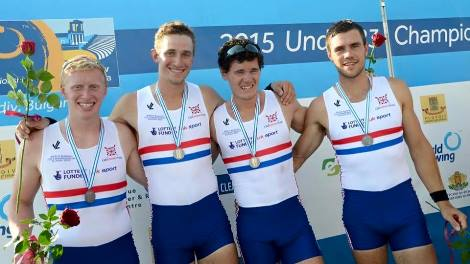 L to R - Lewis McCue, James Johnson, Ross Jarvis and Richard Clarke at the U23 World Rowing Championships in July.