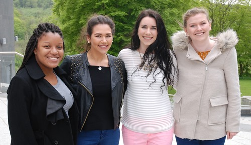 L to R - Ciera Newbell, Megan Oralie Aracena, Victoria Simms and Ruth Gilligan have been learning how nursing compares between Scotland and the United States.