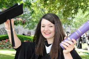 Vivienne Mechie is celebrating a double success after graduating from RGU this summer.