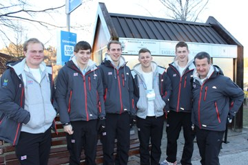 Team GB Men's Curling L-R: Cameron Smith, Derrick Sloan, Kyle Smith, Kyle Waddell, Thomas Muirhead, Dave Ramsay (coach). Photos courtesy of universiadetrentino.org and Richard Browne.