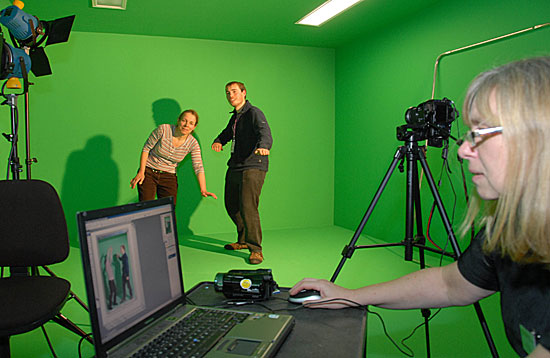 Students using the green screen suite