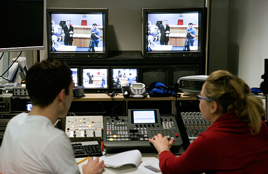 The TV studio at Aberdeen Business School