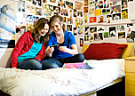 two girls in a bedroom